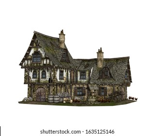 Detailed reconstruction of a Medieval tavern isolated on white background, 3d render.