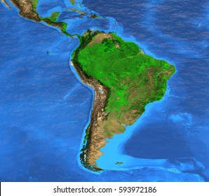 Detailed satellite view of the Earth and its landforms. South America map. Elements of this image furnished by NASA