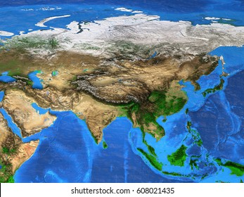 Detailed satellite view of the Earth and its landforms. Asia map. Elements of this image furnished by NASA