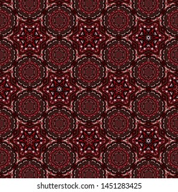 Detailed seamless pattern background with dark brown color tone. Fractal & kaleidescope art pattern background. Wall paper, wrapping paper, gift card, invitation and cover design.