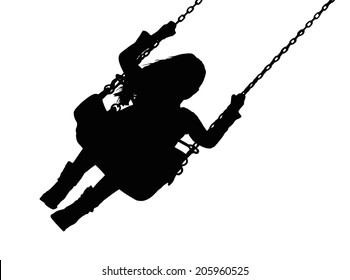 Detailed Silhouette of Small Girl on Amusement Park Swing