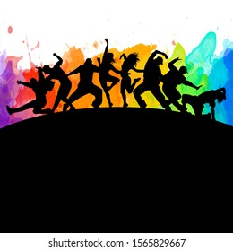 Detailed watercolor illustration silhouettes of expressive dance colorful group of people dancing. Jazz funk, hip-hop, house. Dancer man jumping on white background. Happy celebration