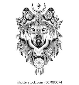 Detailed Wolf in aztec style.