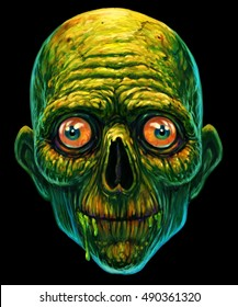 Detailed Zombie Head  funny Illustration