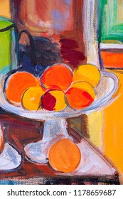 Details of acrylic paintings showing colour, textures and techniques. Detail of a sketch for a fruit bowl with oranges after Matisse.