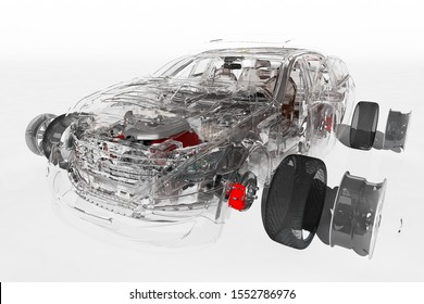 Details of the car on a white background., 3D render