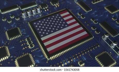 Details of flag of the USA on the operating chipset. American information technology or hardware development related conceptual 3D rendering