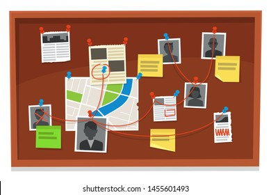 Detective board. Crime evidence connections chart, pinned newspaper and police photos. Investigation evidences, police investigators law evidence board, detectives research scheme  illustration