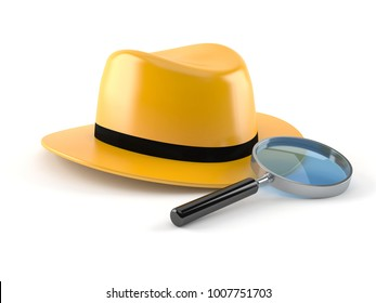 Detective hat with magnifying glass isolated on white background. 3d illustration