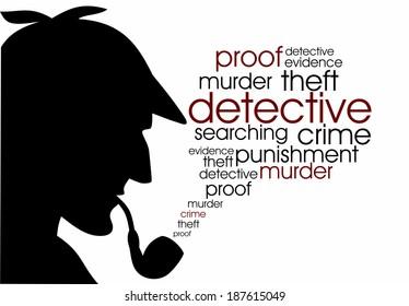 Detective infographics illustration outline raster