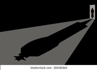 detective or Murderer enters the door