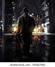 Detective. Noir detective walking a night city lights.