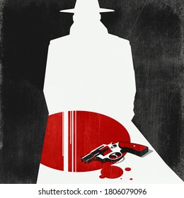 Detective, revolver and blood stains: noir movie concept