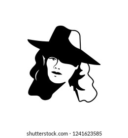 detective woman black and white illustration