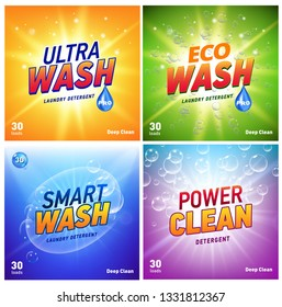 detergent packaging concept design showing eco friendly cleaning and washing. Detergent package with eco logo.