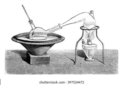 Determination of alcohol in the beer, vintage engraved illustration. Magasin Pittoresque 1869.