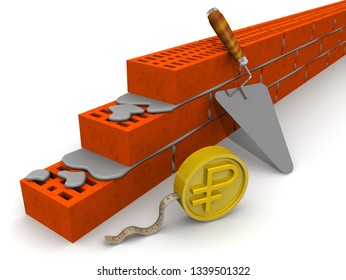Determination of the amount of payment for construction work. Masonry made of ceramic bricks, trowel and measuring tape in the form of a gold coin with the symbol of the Russian ruble. 3D Illustration