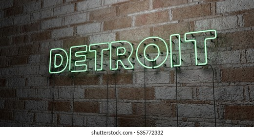 DETROIT - Glowing Neon Sign on stonework wall - 3D rendered royalty free stock illustration.  Can be used for online banner ads and direct mailers.