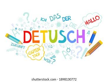 "Deutsch. Translation: ""German"". Learning German. Online education concept. German language hand drawn doodles and lettering. Language education illustration."