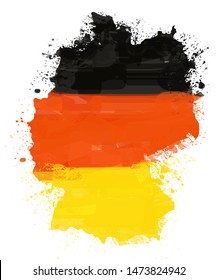 Deutschland flag painted with vintage paint
