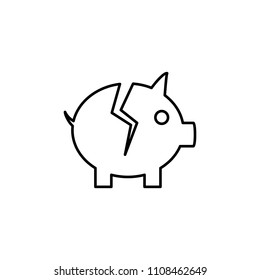 Devaluation and inflation. Broken money box  line icon on white background