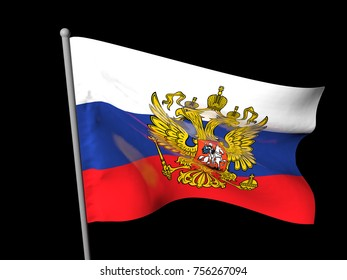 Developing in the wind flag of Russia with coat of arms