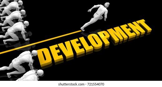 Development Leader with a Man Having a Head Start 3D Illustration Render