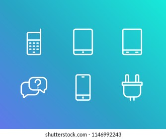 Device icon set and android tablet with plug, telephone and ios tablet. Touchscreen related device icon  for web UI logo design.
