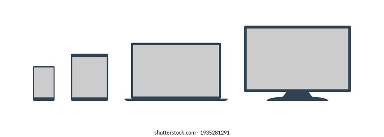 Device icon: a set of computers, laptops, tablets and smartphones. Flat style. Illustrations