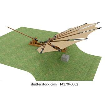 Device for testing beating wings by Leonardo da Vinci, F3D illustration.