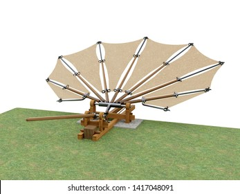 Device for testing beating wings by Leonardo da Vinci, 3D illustration.