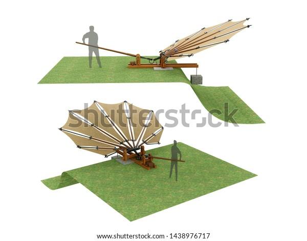 Device for testing beating wings by Leonardo da Vinci, France Manuscript 0088v. 3D model