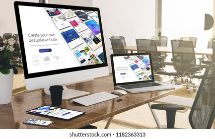 devices at modern office 3d rendering showing responsive builder website