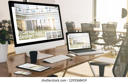 devices at modern office 3d rendering showing interior design website