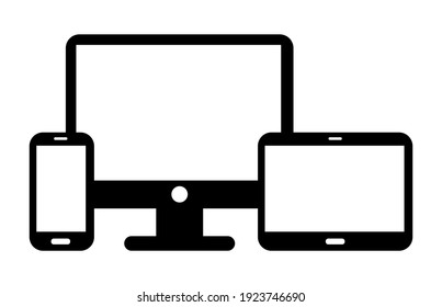 Devices Set. Smartphone. Tablet. Monitor PC. Icons II.