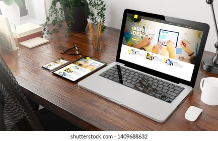 devices ux design website on wooden desktop 3d rendering