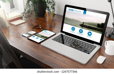 devices web design on wooden desktop 3d rendering