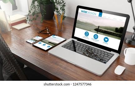 devices web design on wooden desktop 3d rendering