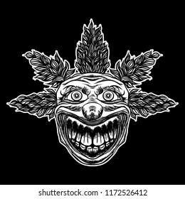Devil clown head illustration. Nightmare inspired satanic influence clown face with mohawk, dark twist face gesture. Possessed by demon smiling mascot. Blackwork adult flesh tattoo concept.