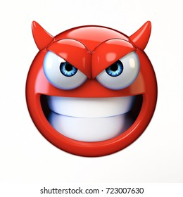 Devil emoji isolated on white background, evil emoticon 3d rendering