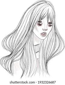 Devil girl original sketch portrait with red element