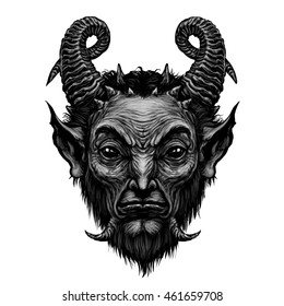Devil head  satire satan  halloween monster horns prince of darkness