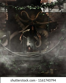 Devil and Monster in haunted house,3d illustration