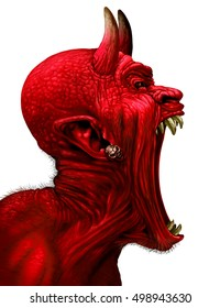 Devil scream character as a red demon or monster screaming with fangs and teeth with in an open mouth as a side view horror face isolated on a white background with 3D illustration elements.