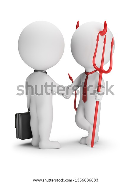 Devil with a trident makes a deal with a businessman. 3d small people. 3d image. White background.