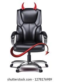 Devils desk chair isolated on white. Creative 3d illustration