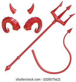 Devil's trident, tail and horns design elements, devil costume 3d rendering