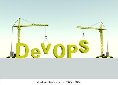 DevOPS building concept crane white background 3d illustration
