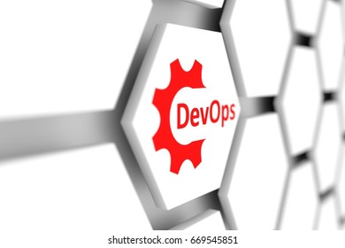 DevOps cell gear wheel blurred background 3d illustration