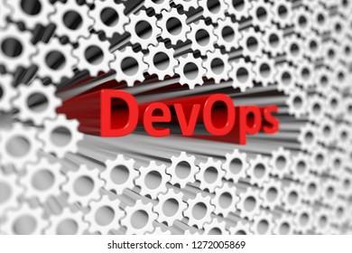 DevOps concept blurred background 3d render illustration